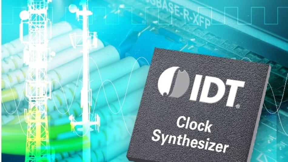 IDTs Clock-Synthesizer 8T49NS010 eignet sich wegen des extrem niedrigen Phasenjitters von 86 fs für 40- und 100GE-Anwendungen.