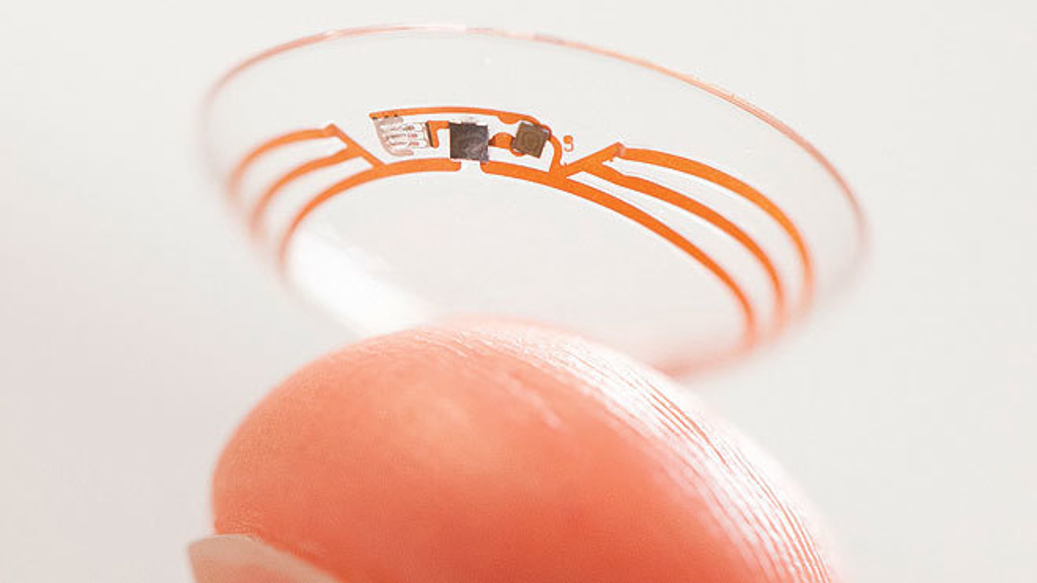 Bild 1. Im medizinischen Bereich könnten Wearable-Kontaktlinsen nützlich sein. Im Bild ist die von Google vorgestellte Diabetiker-Kontaktlinse gezeigt, die den Blutzuckerspiegel anhand der Tränenflüssigkeit messen soll.