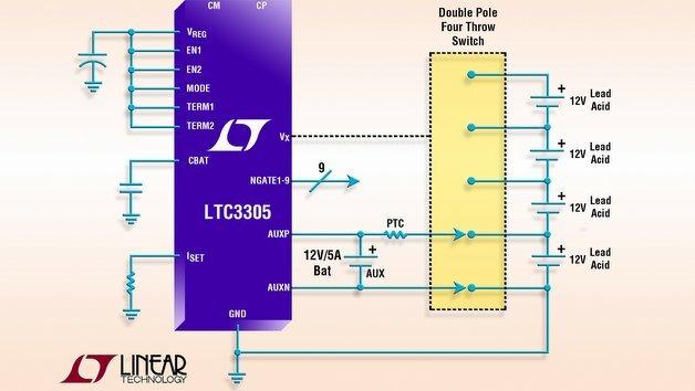 Linear LTC3305: Autonomer Ladungsbalancer für Bleibatterie-Stapel.