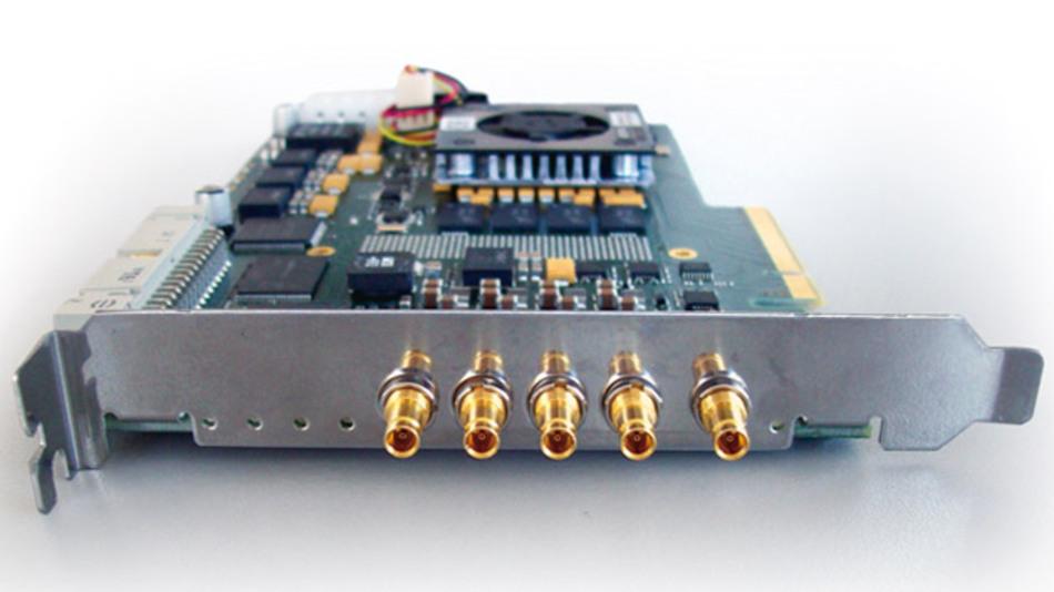 Dem CoaXPress-Standard entspricht dieser Framegrabber aus der Serie »microEnable 5« von Silicon Software.