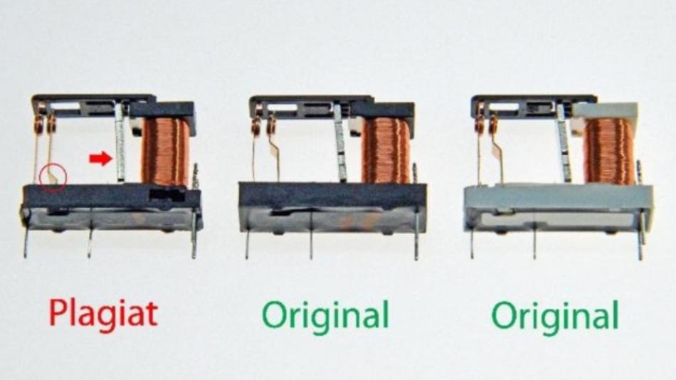 Bild 1: Links das Plagiat, mittig und rechts die Relais vom Originalhersteller. Rot markiert die konstruktiven Unterschiede im Bereich des Klappankers und der Kontaktfeder.