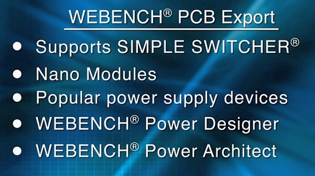Webench PCB Export