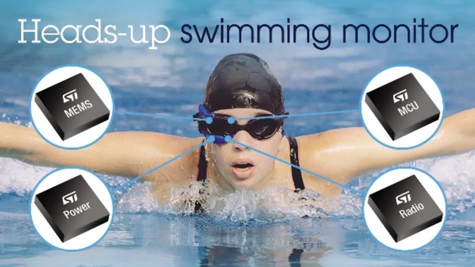 Im Head-up-Display für Schwimmer arbeiten mehrere Bausteine von STMicroelectronics