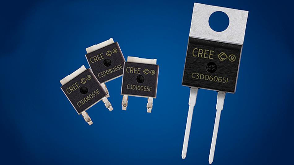 Cree erweitert sein Produktportfolio um die vier 650-V-Schottky-Dioden C3D06065E, C3D08065E, C3D10065E und C3D06065I aus Siliziumkarbid.