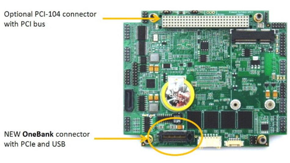 Die »OneBank«-Variante schafft durch weniger Steckverbinder mehr Platz auf dem Board, erlaubt aber optional den Einsatz des PCI-104-Busses.