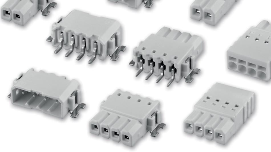 Die weißen Stift- und Buchsenleisten für LED-Inlinemodule haben ein Raster von 2,5 mm  in der SMD- und Einlötversion.