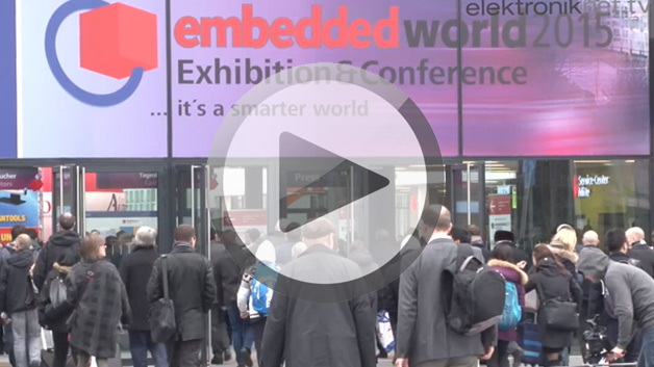 Eingang der Nürnberger Messe zur embedded world 2015