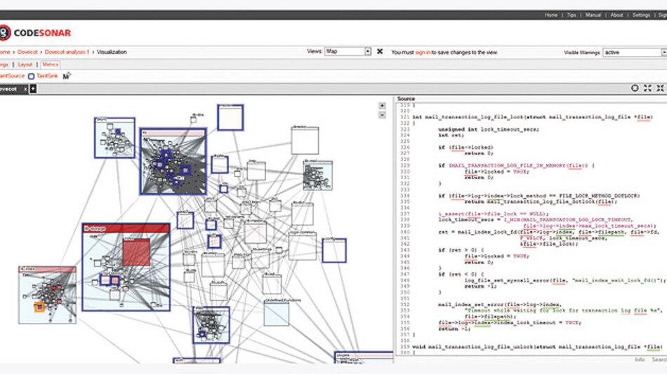 Bild 3. Eine Top-Down-Ansicht des Call Graph von CodeSonar4 zeigt Module entsprechend dem physischen Layout des Codes in Dateien und Verzeichnissen. Die roten Hervorhebungen zeigen die Module mit den meisten fehlerhaften Quellen und die blauen die Module mit fehlerhaften Senken