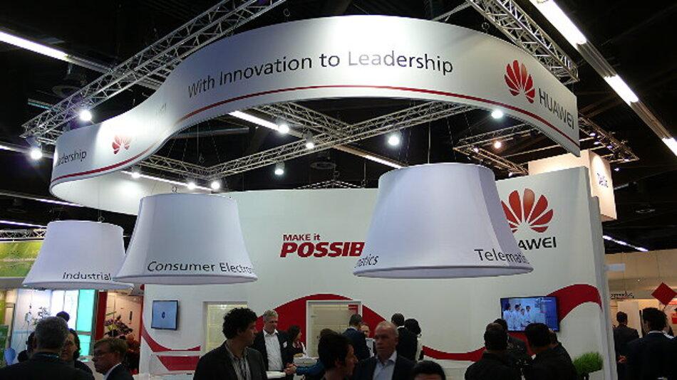 Der Messestand von Huawei auf der embedded world 2015 – das Unternehmen war in diesem Jahr erstmals vertreten.