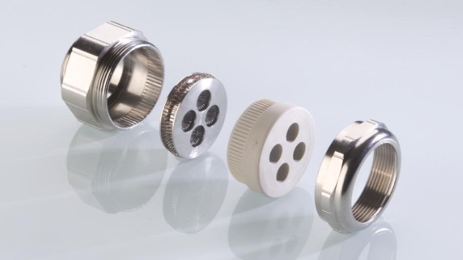 Durch die EMV-Mehrfachscheibe mit innenliegenden TRI-Kontaktfedern lassen sich mehrere Kabel platzsparend durch eine EMV-Verschraubung führen.