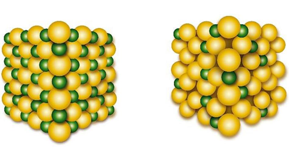 Das neue Kathodenmaterial mit eingelagertem Lithium (links) und ohne Lithium (rechts).