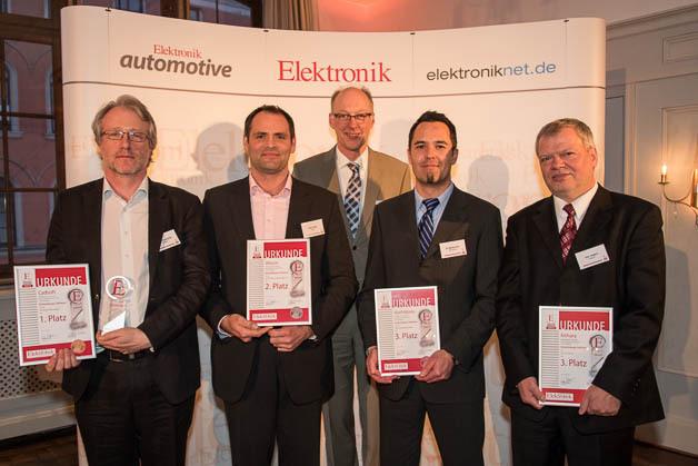 Die Preisträger für Entwicklungssoftware: David Conochie, CadSoft, Olaf Herbst, Altium, Joachim Kroll, Elektronik, Dr. Mischa Kim, Mathworks, Uwe Jesgarz, Kithara Software.