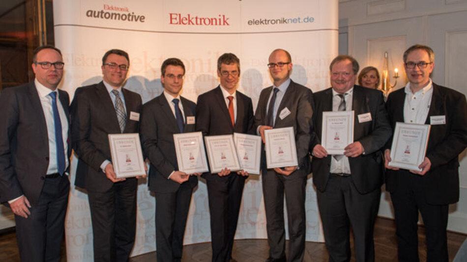 Die Autoren der besten Artikel des Jahres 2014: (v.l.n.r.) Dr. Ingo Kuss (Elektronik automotive), Markus Heuermann, Dr. Markus Ernst, Gerhard Stelzer (Elektronik), Christian Hanisch, Dr. Thomas Wolf und Thomas Tzscheetzsch.