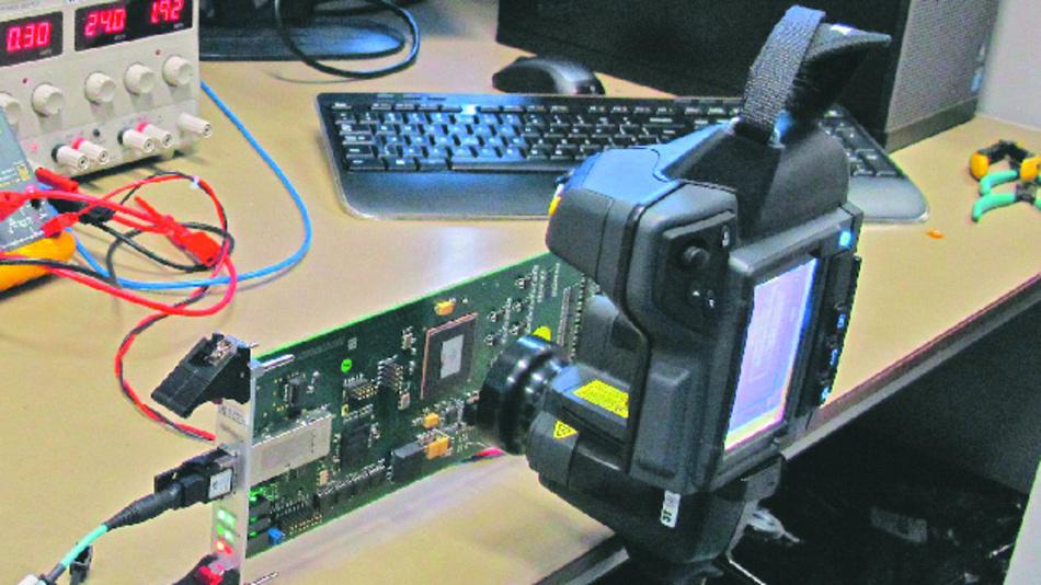 Wärmebildanalysen mit der bestückten Elektronik-Leiterplatte