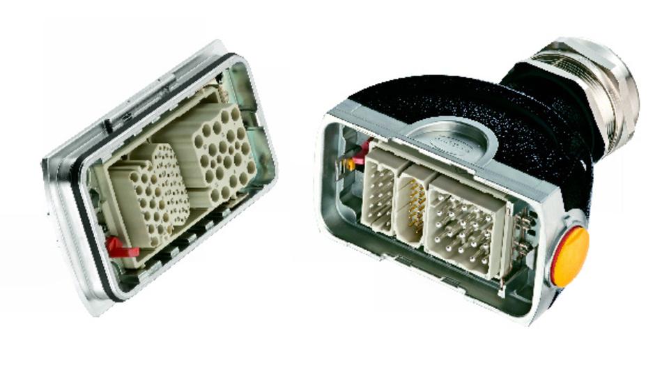 Bild 1. Modular bestückter Han-Yellock60. Darin eingesetzt von rechts nach links: Han-EEE-Modul zur Leistungsübertragung(16A/500V), DDD-Modul – für Ströme bis 10A oder Signalübertragung − sowie das High-Density-Modul für die Signalübertragung bei hoher Kontaktdichte.