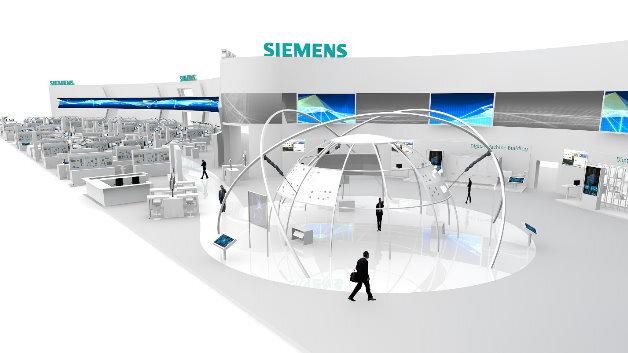 So wird der Siemens-Messestand auf der diesjährigen Hannover Messe aussehen.