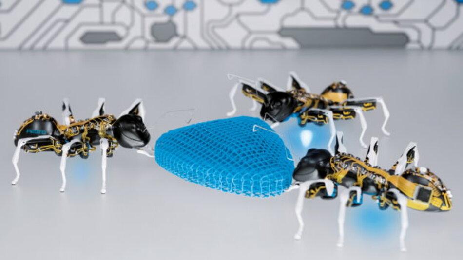 Die »BionicANTs« als hochintegrierte Einzelsysteme zur Lösung einer gemeinsamen Aufgabe: Auf abstrahierte Art und Weise liefert ihr kooperatives Verhalten interessante Ansätze für die Fabrik von morgen.