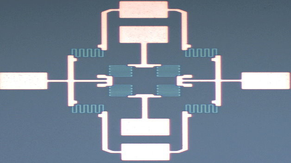 Blick von oben auf den Prototyp eines zweidimensionalen Magnetsensors. Der neue Sensor füllt nicht einmal einen Quadratmillimeter und ist damit nur etwa halb so groß wie bisherige Modelle.