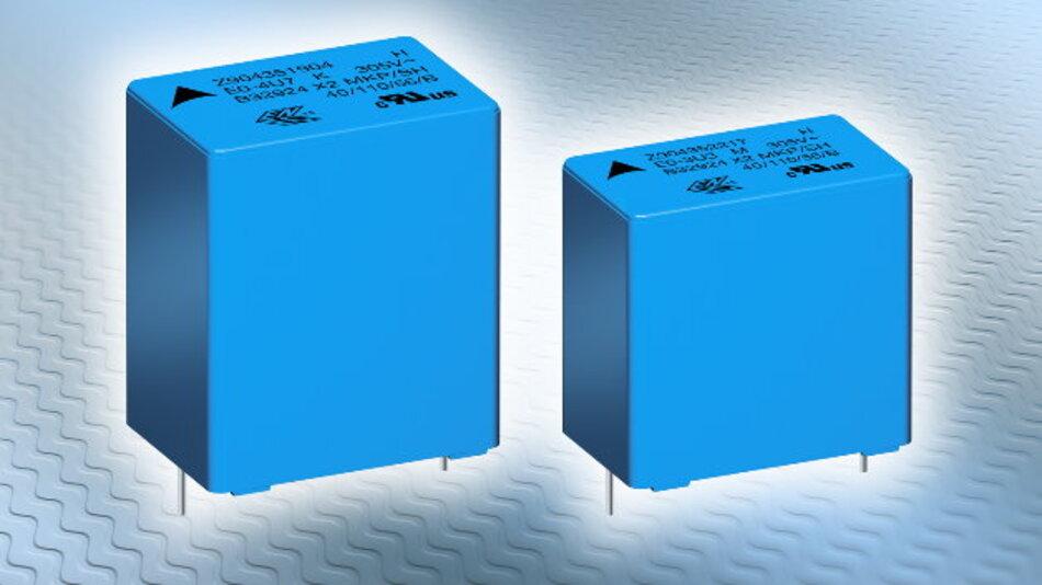 Die Folienkondensatoren der Serie »Epcos B3292xH/Jx« haben eine Nennkapazität von 0,1 µF bis 15 µF.