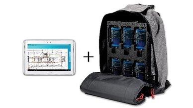 """Links das Management-Tablet """"Nemo Walker Air"""" von Anite. Rechts der Rucksack mit sechs Endgeräten und dem tragbaren Scanner."""