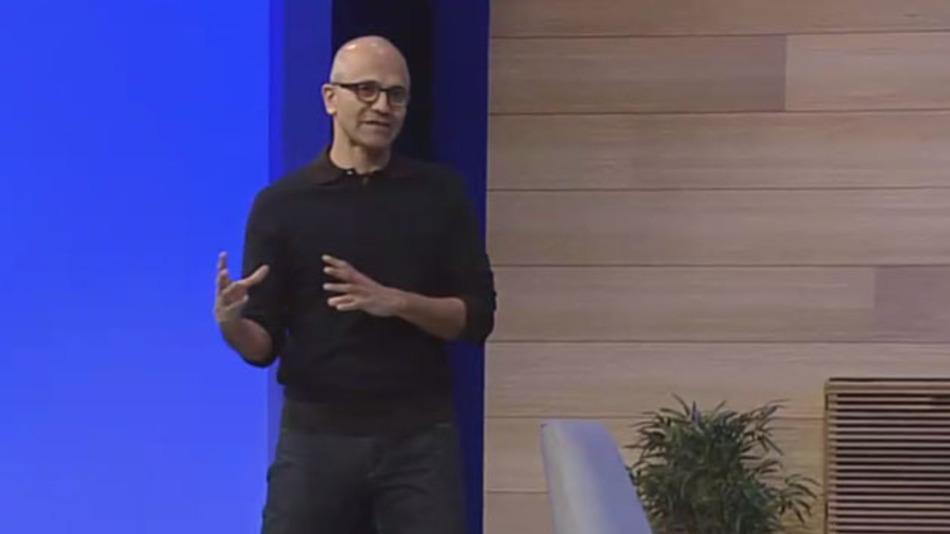 Microsoft-CEO Satya Nadella während seiner Keynote auf der Build 2015 in San Francisco.