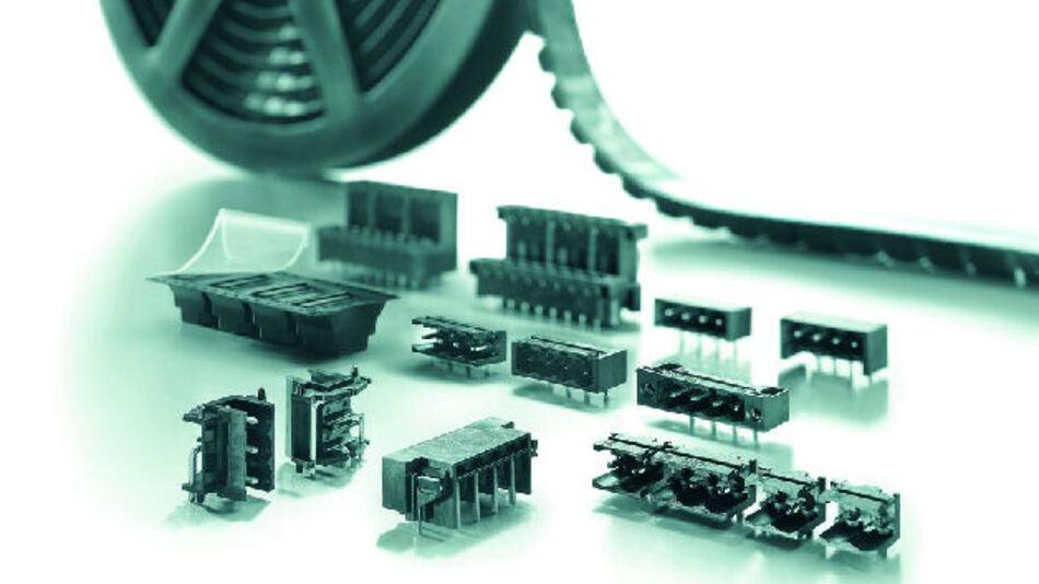 Bild 1. Sichere Leiterplattenbestückung mit THR-Technologie und den formstabilen hochpräzisen Stiftleisten aus glasfaserverstärktem Kunststoff LCP.