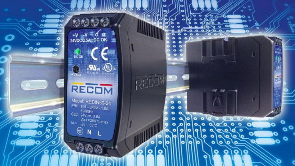 88,6 mm x 41,1 mm x 101,4 mm groß sind die 45-W- bzw. 60-W-Netzteile der »REDIN«-Serie von Recom