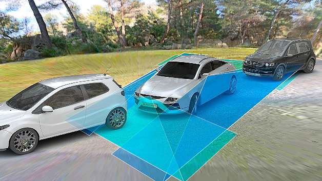 Continental demonstriert in einem Prototypfahrzeug, dass sich Surround View-Kameras für eine Rückfahrassistenz nutzen lassen.