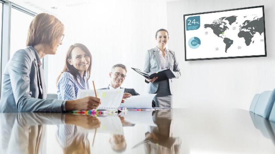 Anwendungen im Retail- und Konferenzbereich adressieren NEC Display Solutions' acht neue Großformatanzeigen mit Diagonalen von 32 bis 90 Zoll.