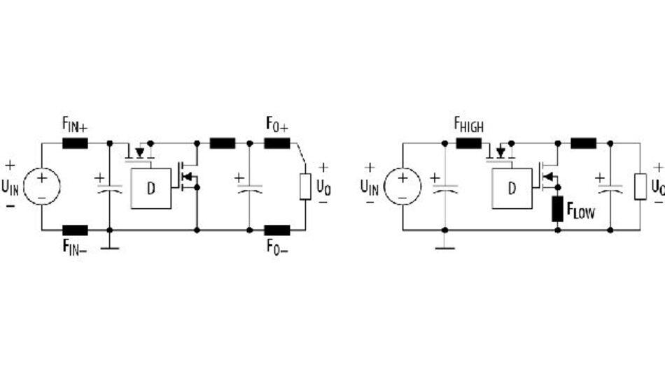 Bild 1. Typische Anordnung von Ferritkernspulen in synchronen Buck-Wandlern.