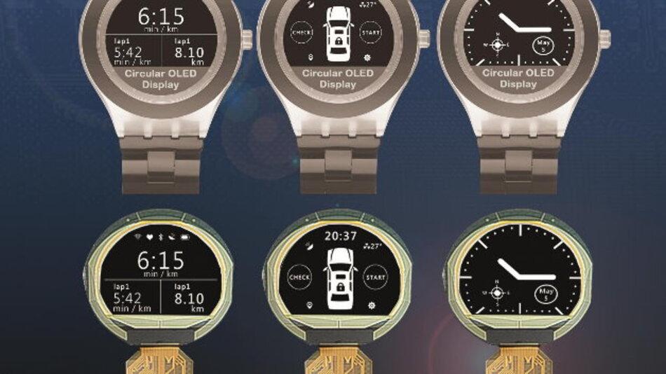 Für Anwendungen im Armband-Format eignet sich Densitrons monochromes, 1,06 Zoll großes OLED-Runddisplay mit einer Auflösung von 160 x 128 Pixel.