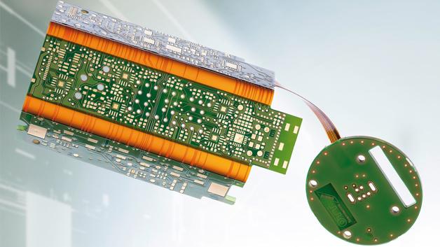 Bild 2: Die Elektronik für den Werkzeugspanner Power-Check ist auf einem 4-lagigen Starrflex-Multilayer untergebracht, der vier starre Teile mit einem Flexteil verbindet