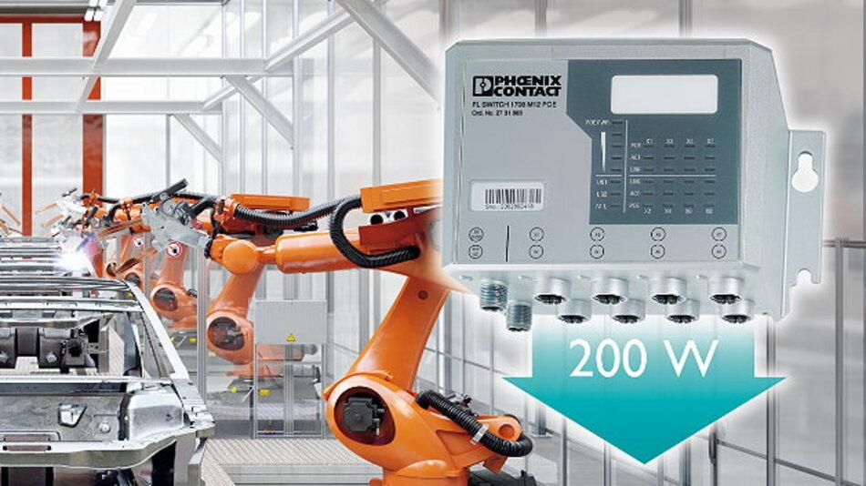 Dezentraler Power-over-Ethernet-Verteiler in Gigabit-Ausführung für raue Industrieumgebungen