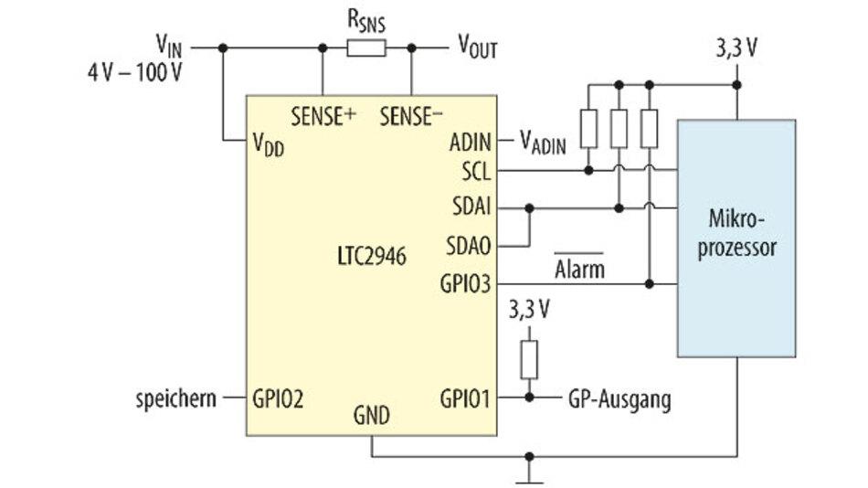 Bild 2. Energie-Messschaltung mit dem LTC2946 auf der stromführenden Seite.