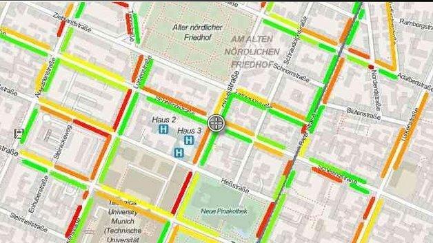 Anhand der Farbmarkierungen ist auf einen Blick erkennbar, wie die aktuelle Parksituation in den gezeigten Straßen ist.