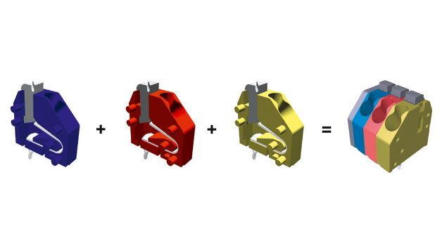 WE-Plus-Steckverbinder mit individueller Anpassung (hier: farbkodierte Terminal-Blocks)