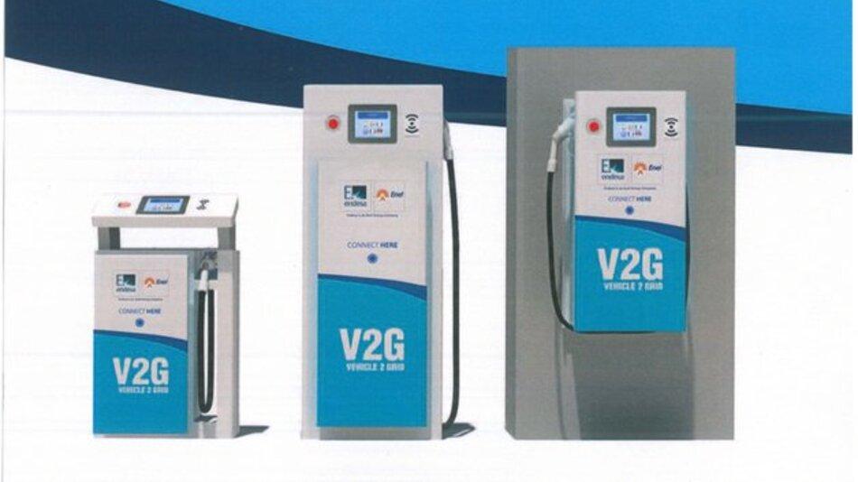 Die bi-direktionalen Ladestationen vom Typ V2G sind in unterschiedlichen Bauformen erhältlich.