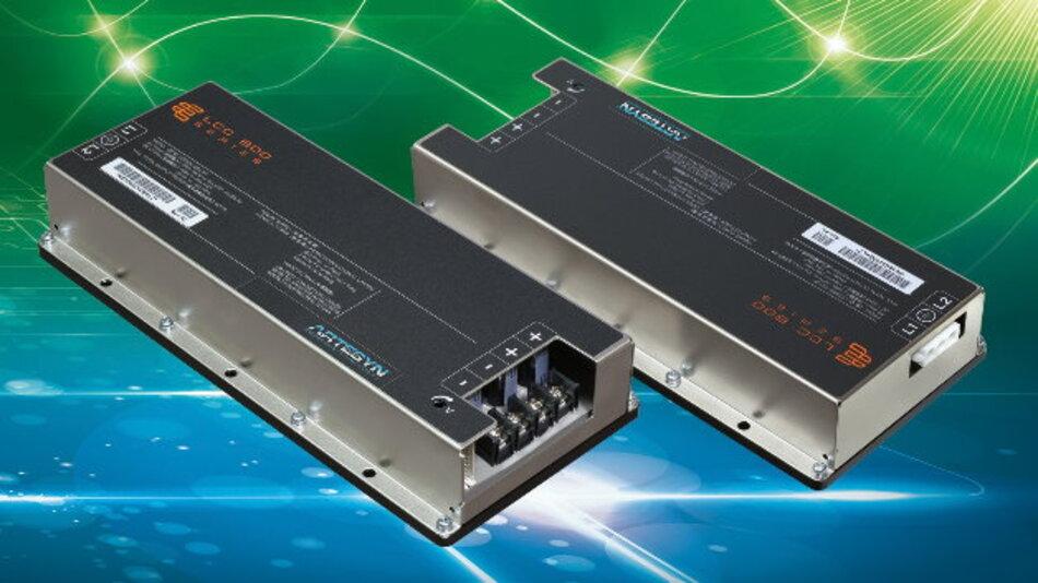 Konvektions- bzw. kontaktgekühlt lassen sich die medizinkonformen 600-W-Netzteile der Serie »LCC600« von Artesyn Embedded Technologies (Vertrieb: Fortec Elektronik) einsetzen und sind mit Ausgangsspannungen von 12 V, 24 V, 28 V, 36 V oder 48 V verfügbar. Dabei arbeiten die 228 mm x 101 mm x 40 mm großen Stromversorgungen zwischen -40 °C und +85 °C ohne Derating, die maximale Arbeitshöhe beträgt ca. 4500 m. Die LCC600-Serie hat einen 5-V-Standby-Ausgang, der bis zu 1,5 A leistet, und sie unterstützt die aktive Stromaufteilung und ist PMBus-kompatibel. Optional ist die LCC600-Serie sogar IP64 geschützt erhältlich. Alle Modelle verfügen sowohl über die industriellen als auch medizinischen Sicherheitszulassungen.