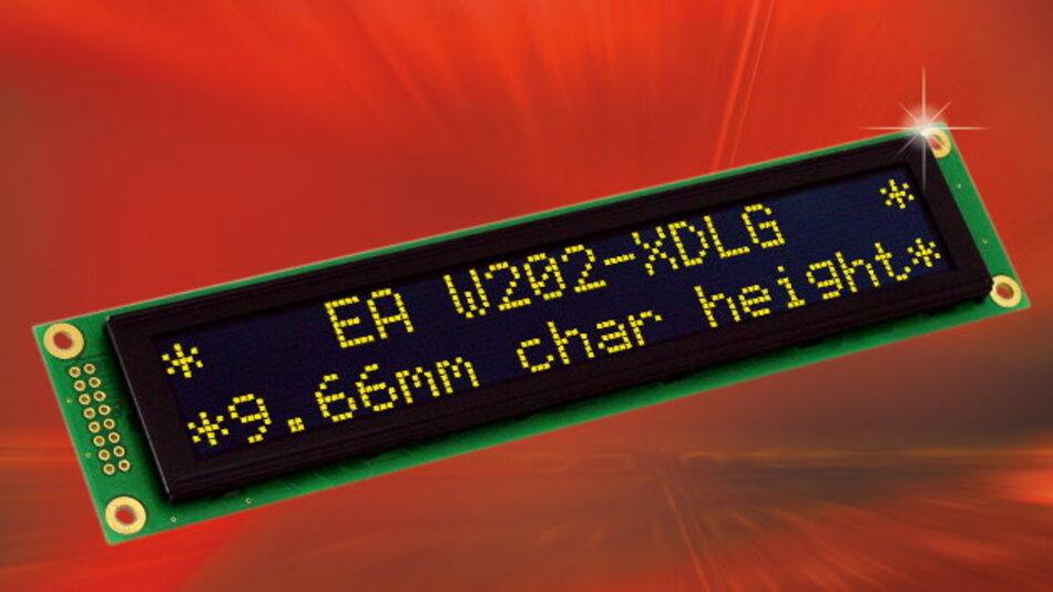 Electronic Assemblys alphanumerisches OLED-Display EA W202-XDLG verbraucht nur 15 bis 50 mA und lässt sich im weiten Temperaturbereich von -40 bis +80 °C einsetzen.
