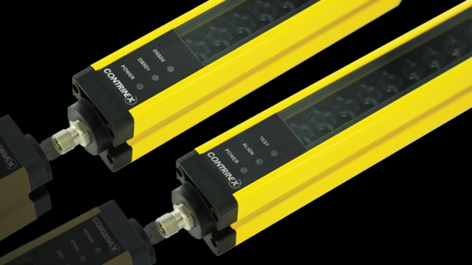 Mit den neuen Typ-2-Lichtgittern der Serie Safetinex YBB entwickelte der Sensorikspezialist Contrinex eine berührungslos wirkende Schutzeinrichtung, die die Sicherheit eines sofortigen Maschinenstopps auch für Einsatzbereiche mit mäßigem Risikopotential erschwinglich macht. Typische Anwendungen vom Typ 2, Kat. 2, c PL, SIL 1 sind u. a. Metallumformungs- oder Pick-&-Place-Einrichtungen, Schweißmaschinen oder industrielle Aufzugsysteme. Das neue Lichtgitter bietet Handschutz mit einer Auflösung von 30 mm und Schutzfeldhöhen von 150 bis 1827 mm. Der Erfassungsbereich beträgt 12 m. Aluminiumgehäuse und Frontscheibe sind ausgesprochen robust und garantieren damit eine sehr gute Beständigkeit gegen Stöße und Vibrationen. Die berührungslos wirkende Schutzeinrichtung verfügt zudem über Hochleistungsfunktionen wie beispielsweise die optische Synchronisation und die ständige Selbstkontrolle des Ausgangs.