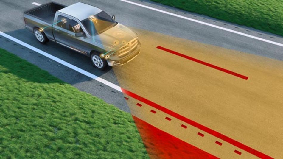 Das Road Departure Protection-System von Continental lenkt das Fahrzeug  zurück in die Spur.