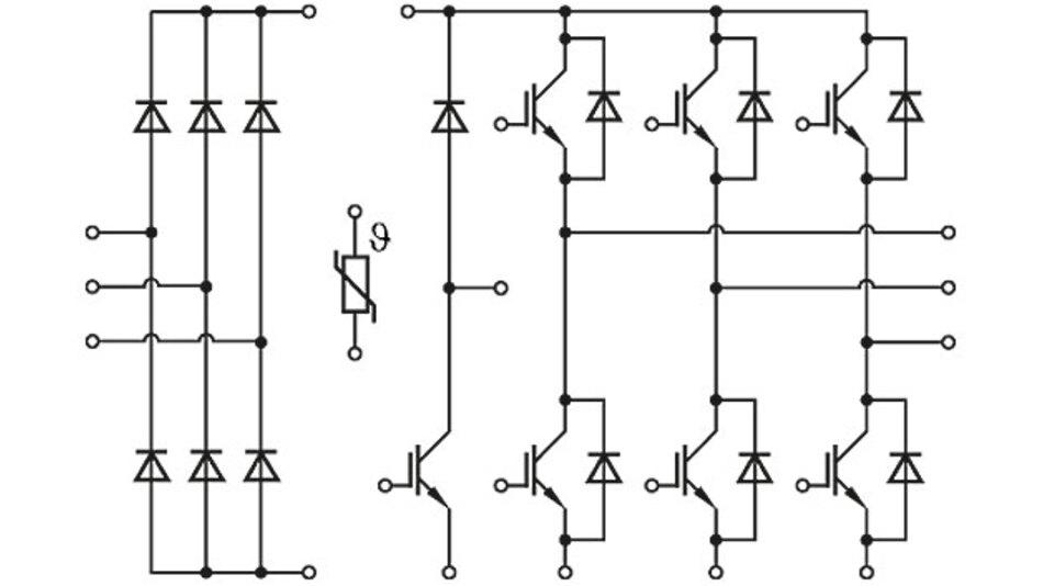 Bild 1. Schaltbild eines PIM-Moduls FP25R12W2T4 [5].