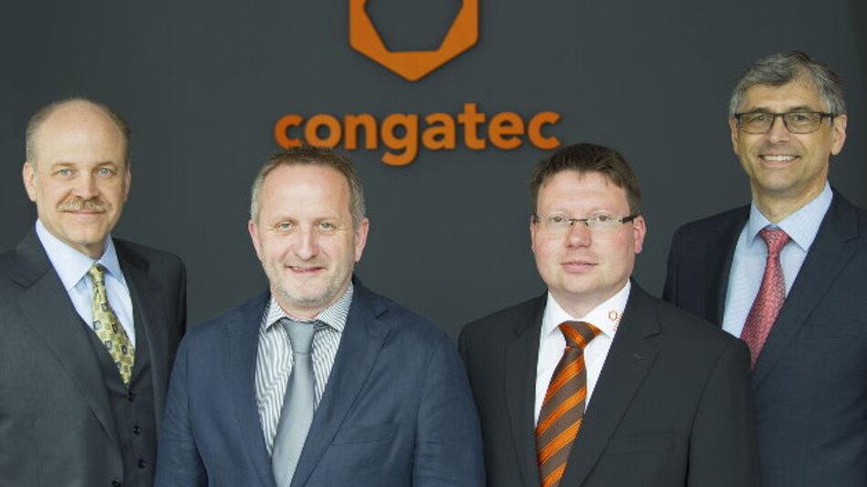 Erweiterter congatec-Vorstand (von links): CEO Jason Carlson, CTO Gerhard Edi, COO Matthias Klein und CFO Josef Wenzl