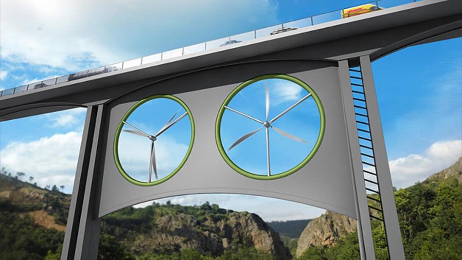 Ein neuer Ansatz für On-Shore-Windkraftanlagen: Die Windturbinen werden unter Brücken und Viadukte montiert.