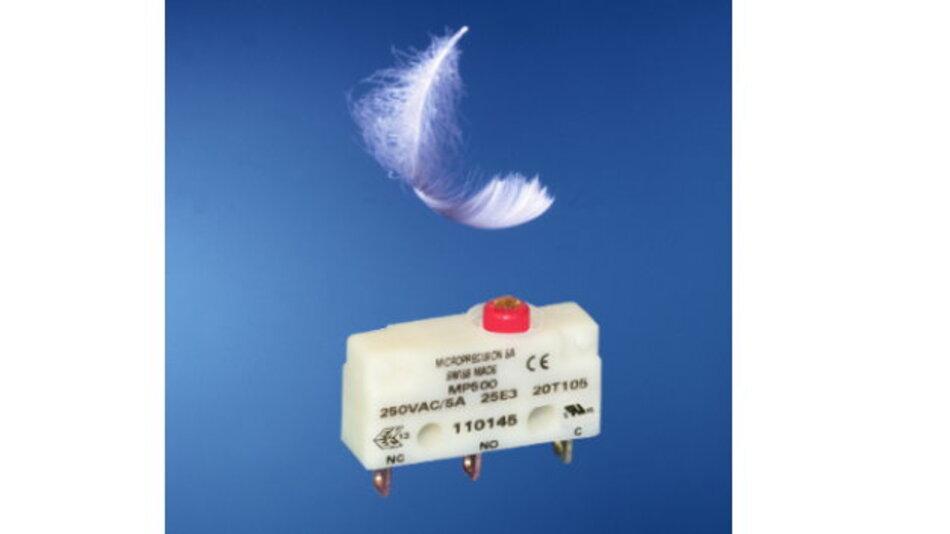 Der flüssigkeitsdichte Subminiaturschalter MP520 hat eine geringe Betätigungskraft von max. 1 N.