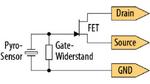 Bild 2. Schaltbild eines pyroelektrischen Detektors mit eingebautem Feldeffekttransistor.
