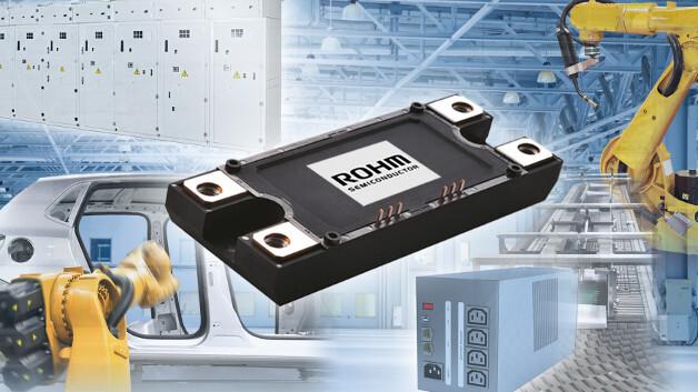 Basierend auf SiC-MOSFETs mit Trench-Struktur, hat Rohm Semiconductor ein rein SiC-basiertes Power-Modul entwickelt (BSM180D12P3C007), das auch SiC-Schottkydioden enthält. In der 1200-V-Ausführung bietet das Modul einen Nennstrom von 180 A.