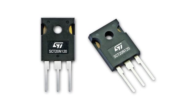 Im Vergleich zum Wettbewerb zeichnen sich die 1200-V-SiC-MOSFETs der Serie SCT20N120 durch den besten RDSon (besser als 290 mΩ) bei einem Betrieb bis +200 °C aus.