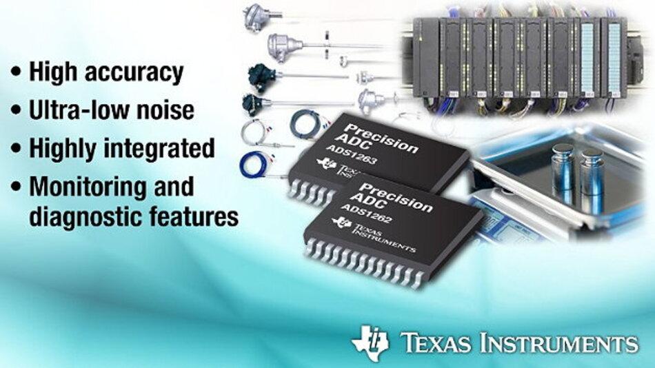 Die neuen ADCs von TI empfehlen sich mit großer Genauigkeit, geringem Rauschen und hohem Integrationsgrad für den Einsatz in speicherprogrammierbaren Steuerungen, industriellen Automatisierungssystemen und Sensor-Messsystemen.