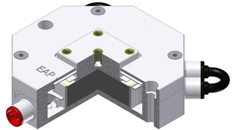 Aktives Elastomerlager zur Schwingungsdämpfung. Die Dämpfende Komponente besteht aus 100 Lagen dielektrischem Elastomer (DE).